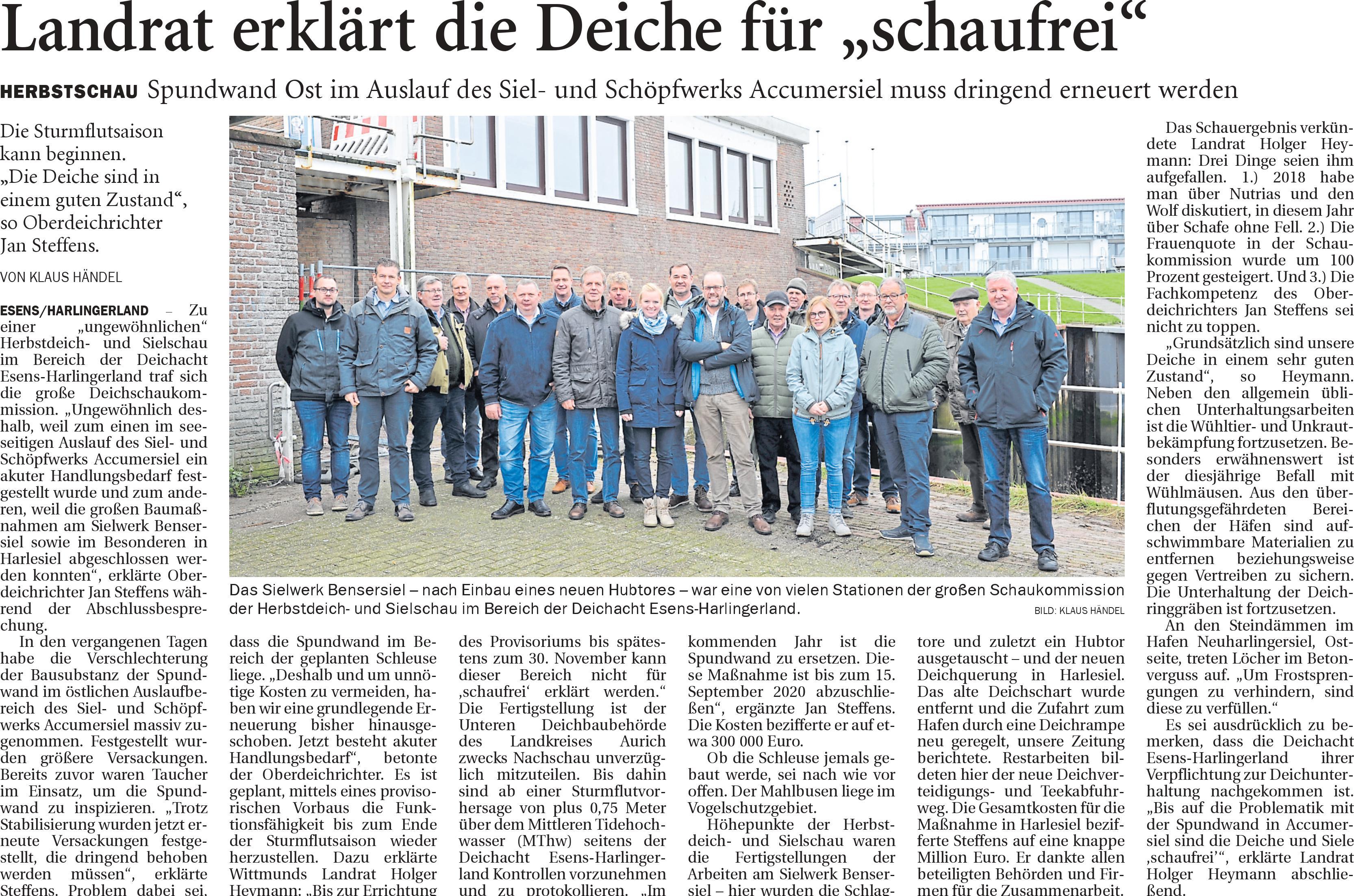 Lesen Sie hier den Bericht des Anzeiger für Harlingerland zur Deichschau.